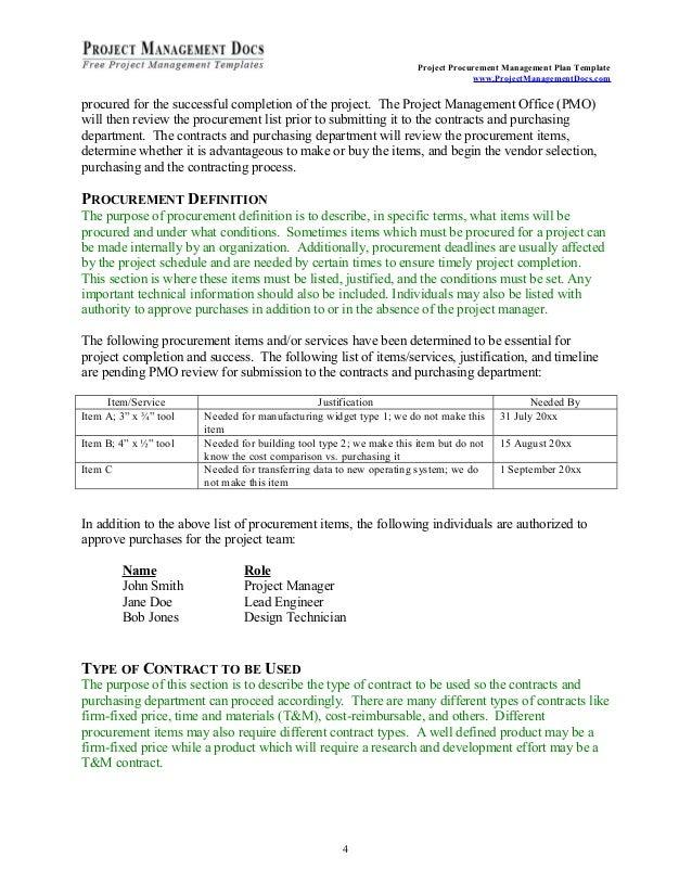 Procurement management-plan