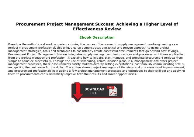 Procurement Project Management Success Achieving a Higher Level of ...