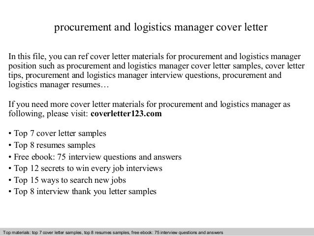 Procurement And Logistics Manager Cover Letter In This File, You Can Ref Cover  Letter Materials ...
