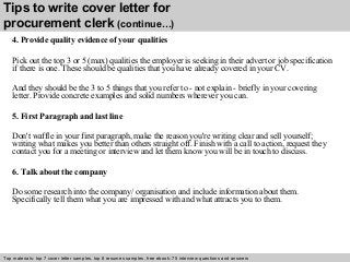 Stunning Procurement Clerk Cover Letter Contemporary - Printable ...