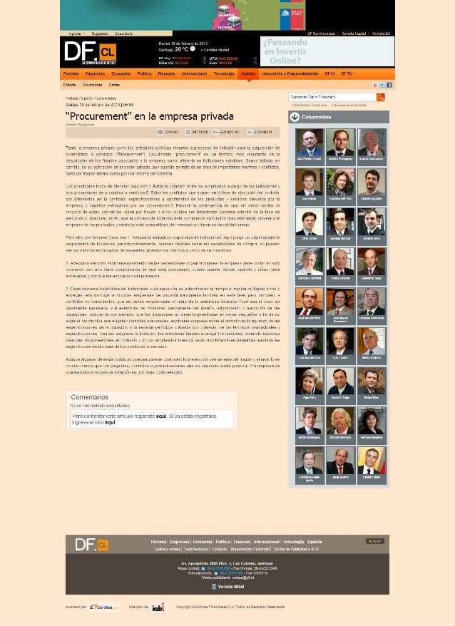Procurement en la empresa privada (diario financiero)