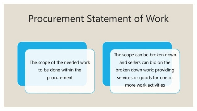 Procurement Statement of Work The scope of the needed work to be done within the procurement The scope can be broken down ...