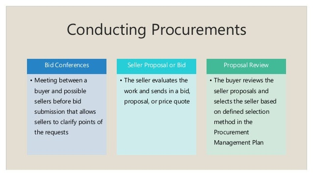Conducting Procurements Bid Conferences • Meeting between a buyer and possible sellers before bid submission that allows s...