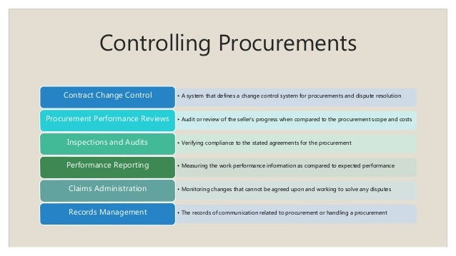 Controlling Procurements • A system that defines a change control system for procurements and dispute resolutionContract C...