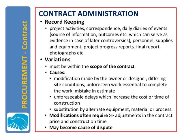 public procurement and contract administration in This chapter examines public procurement policy within the caribbean context  we first examine  contract administration bill under consideration by.
