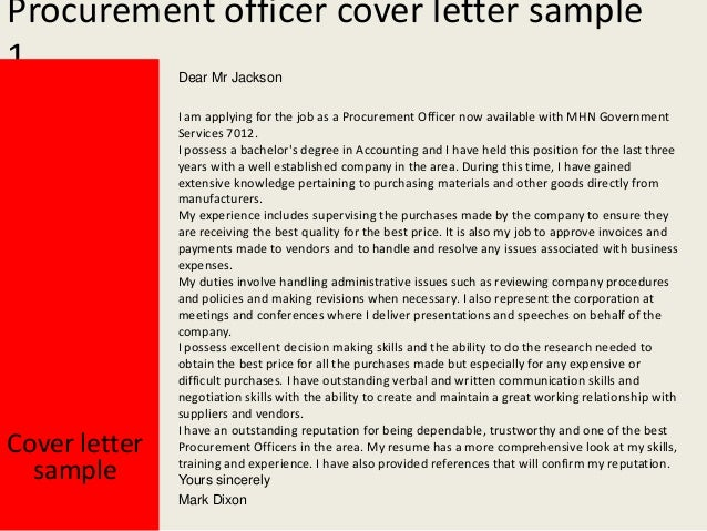 Cover letter for purchase officer