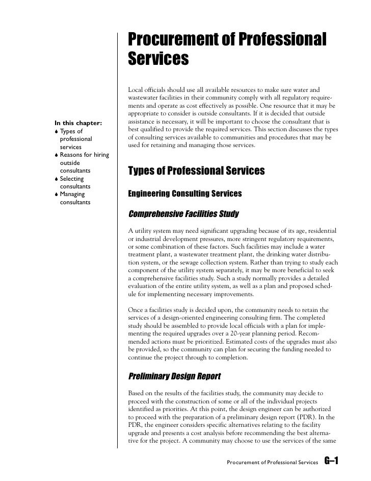 Procurement of Professional                        Services                        Local officials should use all availabl...