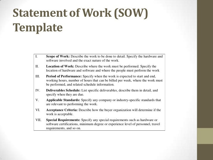 Procurement ops450 for Statement of works template