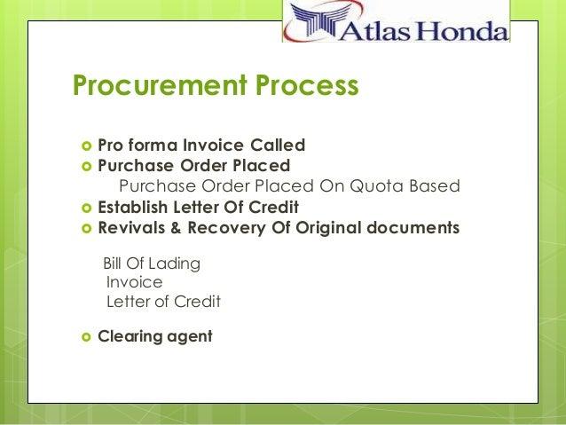 procurement process atlas honda ltd