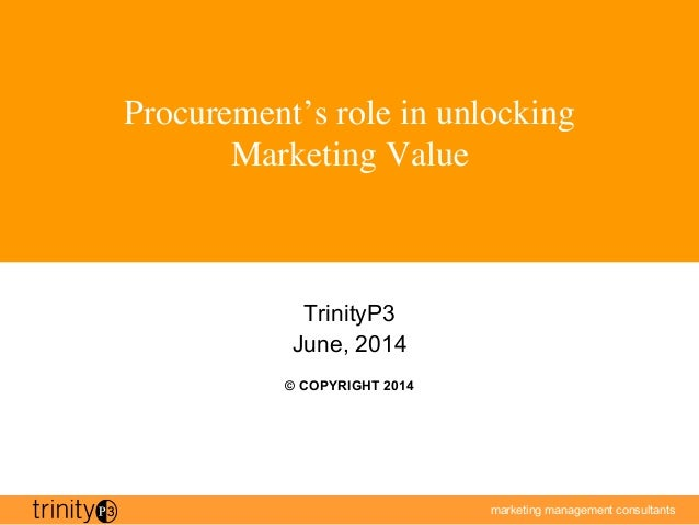 marketing management consultants Procurement's role in unlocking