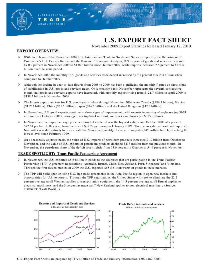 U.S. EXPORT FACT SHEET                                                                  November 2009 Export Statistics Re...