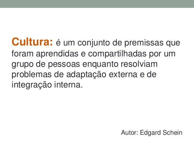 Cultura: é um conjunto de premissas que  foram aprendidas e compartilhadas por um  grupo de pessoas enquanto resolviam  pr...