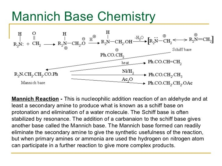 Mannich Base Chemistry Mannich Reaction  -  This is nucleophilic addition reaction of an aldehyde and at least a secondary...