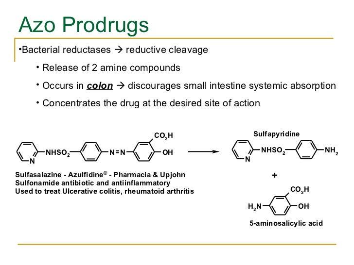 Azo Prodrugs <ul><li>Bacterial reductases    reductive cleavage  </li></ul><ul><ul><li>Release of 2 amine compounds </li>...