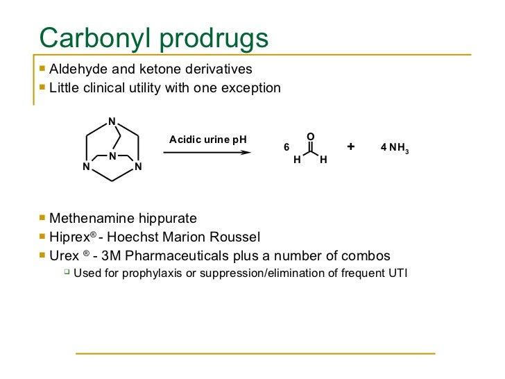 Carbonyl prodrugs <ul><li>Aldehyde and ketone derivatives </li></ul><ul><li>Little clinical utility with one exception </l...