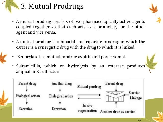 3. Mutual Prodrugs • A mutual prodrug consists of two pharmacologically active agents coupled together so that each acts a...