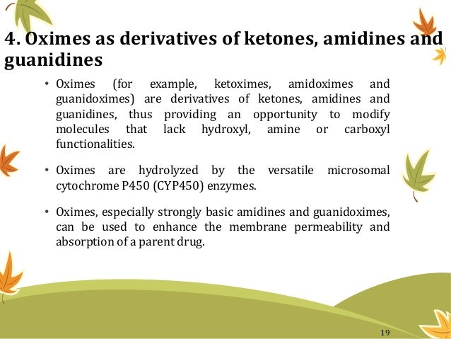 4. Oximes as derivatives of ketones, amidines and guanidines • Oximes (for example, ketoximes, amidoximes and guanidoximes...