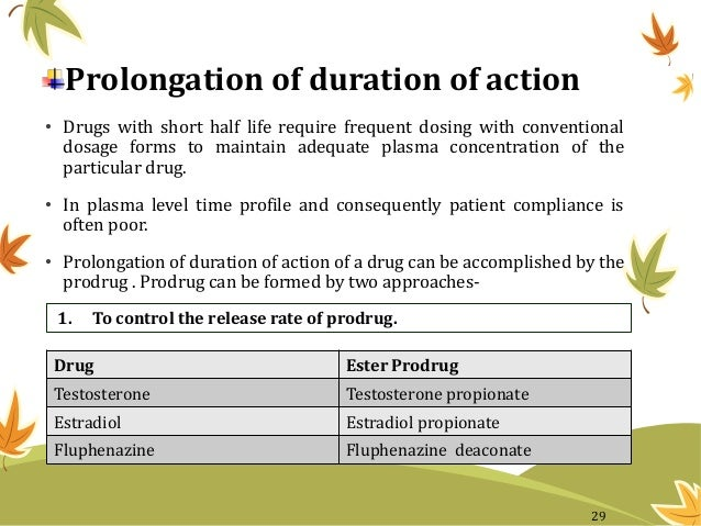 Prolongation of duration of action • Drugs with short half life require frequent dosing with conventional dosage forms to ...