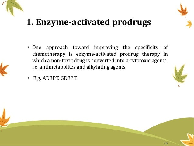 1. Enzyme-activated prodrugs • One approach toward improving the specificity of chemotherapy is enzyme-activated prodrug t...