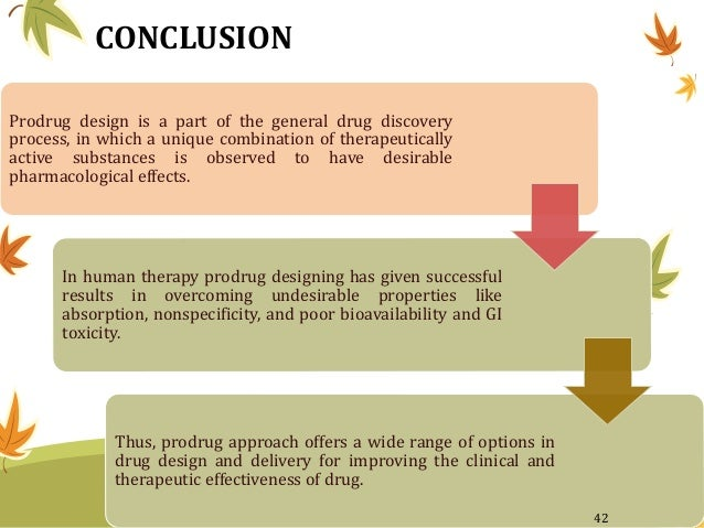 CONCLUSION Prodrug design is a part of the general drug discovery process, in which a unique combination of therapeuticall...