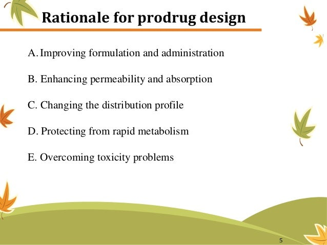 Rationale for prodrug design A. Improving formulation and administration B. Enhancing permeability and absorption C. Chang...