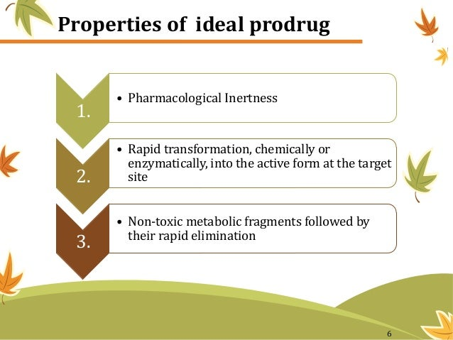 Properties of ideal prodrug 1. • Pharmacological Inertness 2. • Rapid transformation, chemically or enzymatically, into th...