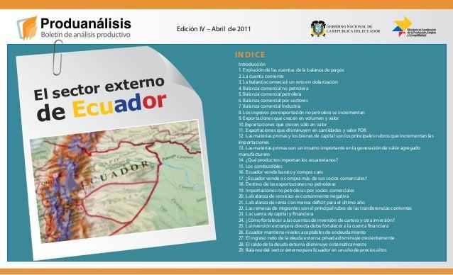 """""""Construimos la revolución productiva"""" INDICE Edición IV – Abril de 2011 El sector externo de Ecuador Introducción 1. Evol..."""