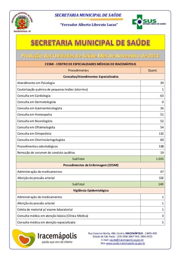 """SECRETARIA MUNICIPAL DE SAÚDE """"Vereador Alberto Liberato Lucas"""" Rua Cesarino Borba, 486, Centro, IRACEMÁPOLIS - 13495-000 ..."""