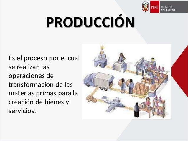 PRODUCCIÓN Es el proceso por el cual se realizan las operaciones de transformación de las materias primas para la creación...