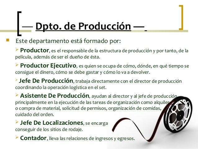Es el corazón de una empresa. En el departamento de producción se realizan las siguientes funciones: análisis y control de lo que fabricamos. Medición del trabajo. Formas de trabajar. Higiene y seguridad industrial. Control de la producción y de los inventarios.