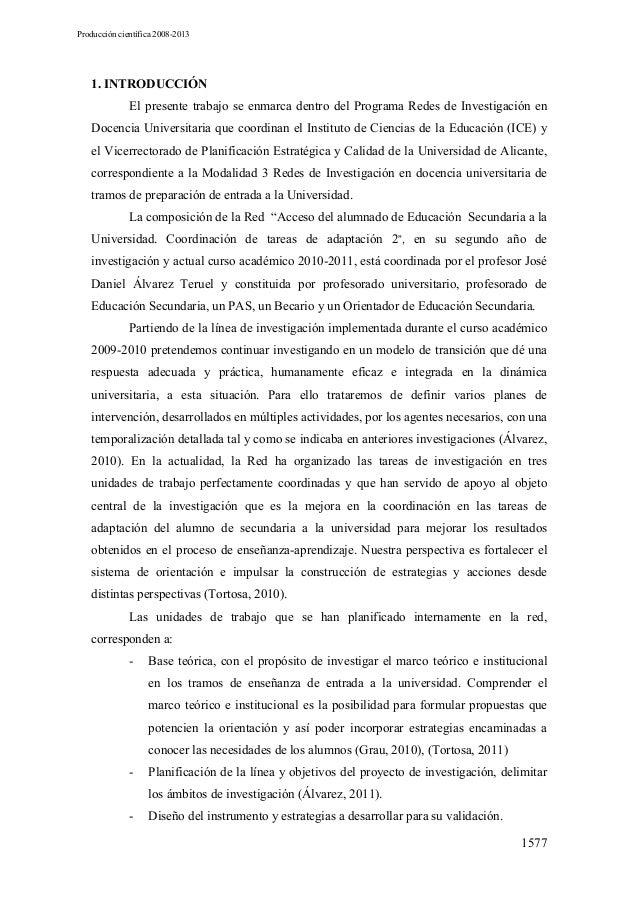 Producción cientifica de la Red (2009-2013)