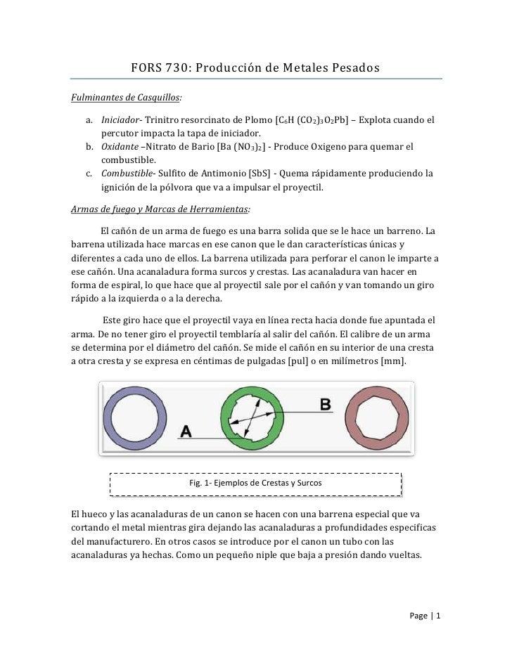 FORS 730: Producción de Metales PesadosFulminantes de Casquillos:   a. Iniciador- Trinitro resorcinato de Plomo [C6H (CO2)...