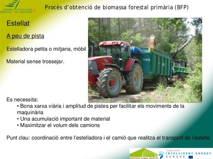 Procés d'obtenció de biomassa forestal primària (BFP)EstellatA peu de pistaEstelladora petita o mitjana, mòbilMaterial sen...