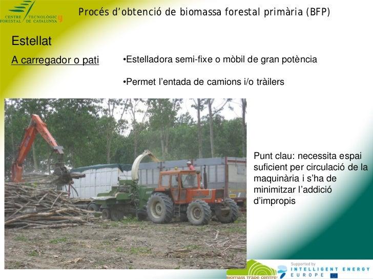 Procés d'obtenció de biomassa forestal primària (BFP)EstellatA carregador o pati        •Estelladora semi-fixe o mòbil de ...