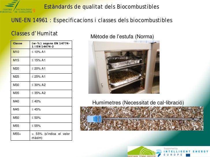 Estàndards de qualitat dels BiocombustiblesUNE-EN 14961 : Especificacions i classes dels biocombustiblesClasses d'Humitat ...