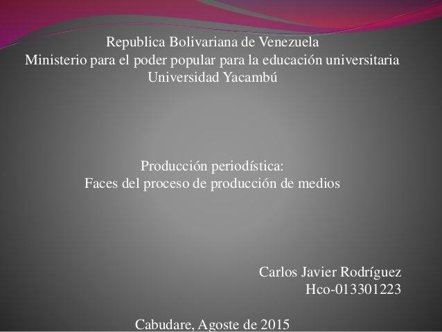 Republica Bolivariana de Venezuela Ministerio para el poder popular para la educación universitaria Universidad Yacambú Pr...