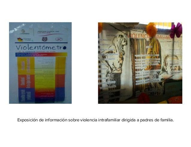 Exposición de información sobre violencia intrafamiliar dirigida a padres de familia.