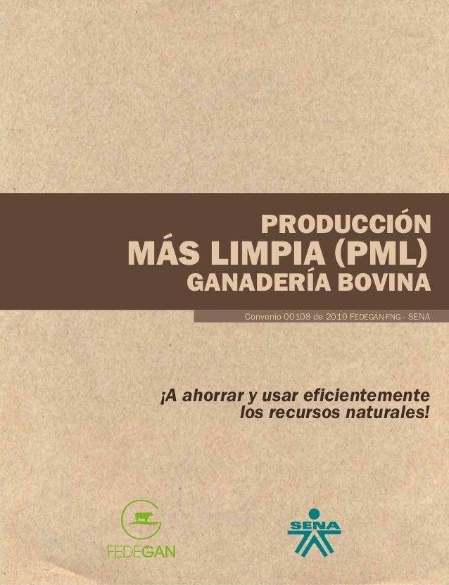 PRODUCCIÓN  MÁS LIMPIA (PML)  GANADERÍA BOVINA Convenio 00108 de 2010 FEDEGÁN-FNG - SENA  ¡A ahorrar y usar eficientemente...