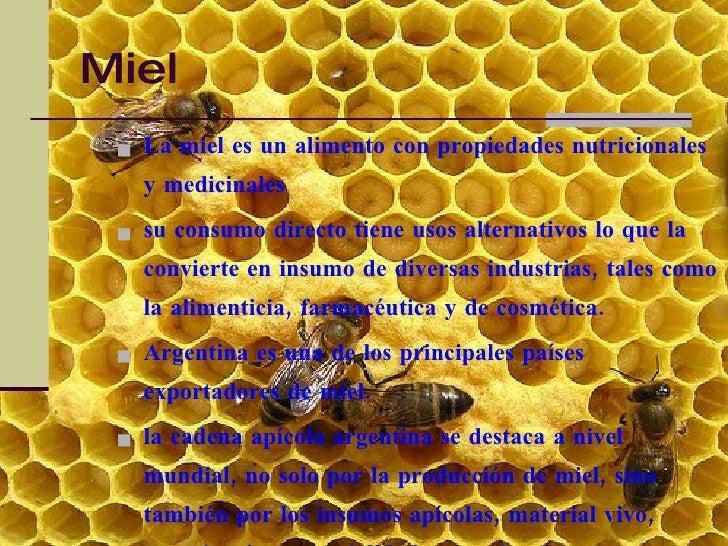 Miel  <ul><li>La miel es un alimento con propiedades nutricionales y medicinales  </li></ul><ul><li>su consumo directo tie...