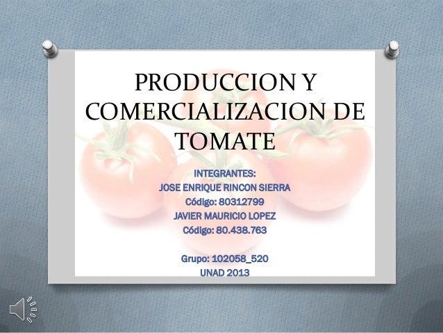 PRODUCCION Y COMERCIALIZACION DE TOMATE INTEGRANTES: JOSE ENRIQUE RINCON SIERRA Código: 80312799 JAVIER MAURICIO LOPEZ Cód...