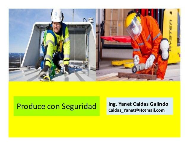 Produce con Seguridad Ing. Yanet Caldas Galindo CIP: 115456 Caldas_Yanet@Hotmail.com