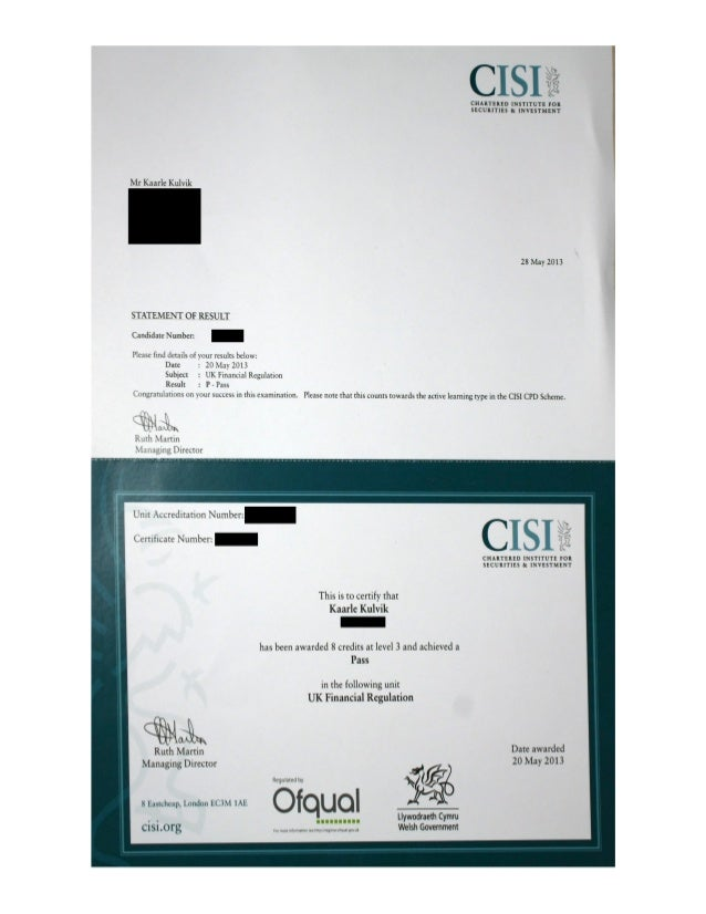 CISI UK Financial Regulation Certificate