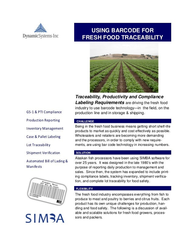USING BARCODE FOR                                 FRESH FOOD TRACEABILITY                             Traceability, Produc...