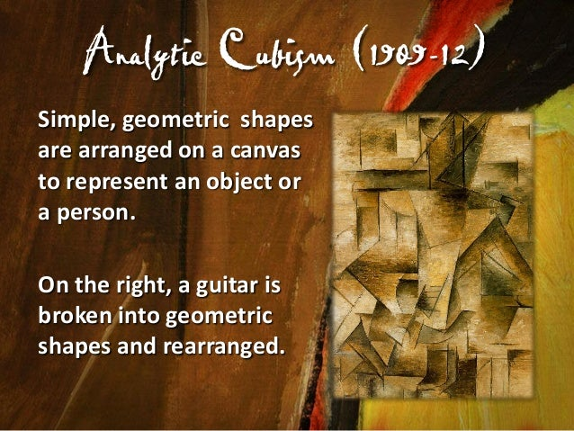 Synthetic Cubism (1912-14) Picasso introduces a collage method, where objects are placed on the canvas to interact with pa...