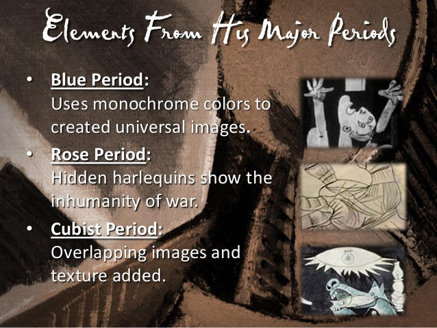 Guernica's Secret Images • African-Influenced Period: Conceals masks for a psychological effect. • Surrealism Period: Some...