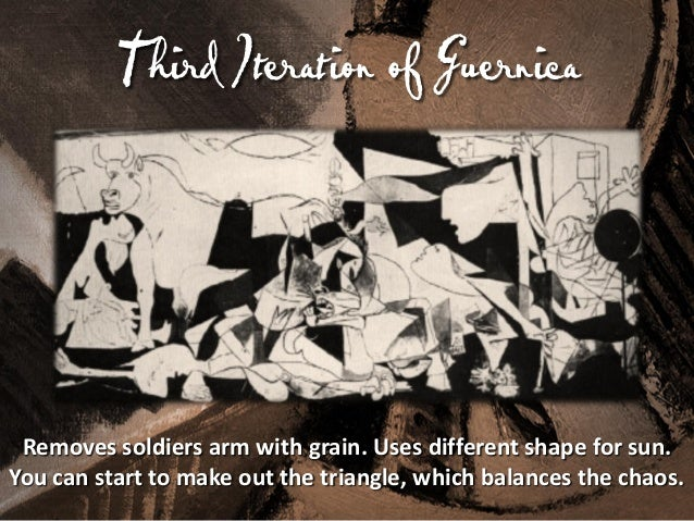 F Iteration of Guernica ourth  Moves the horse's head up. Hides other images. The horse is not dead, but in incredible ago...