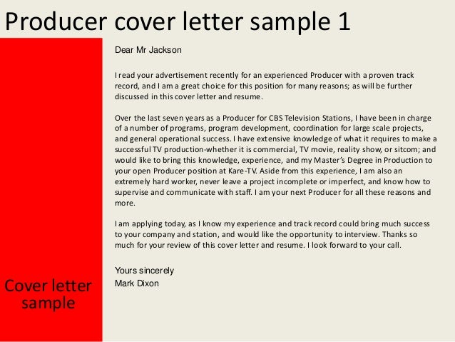 Producer Cover Letters