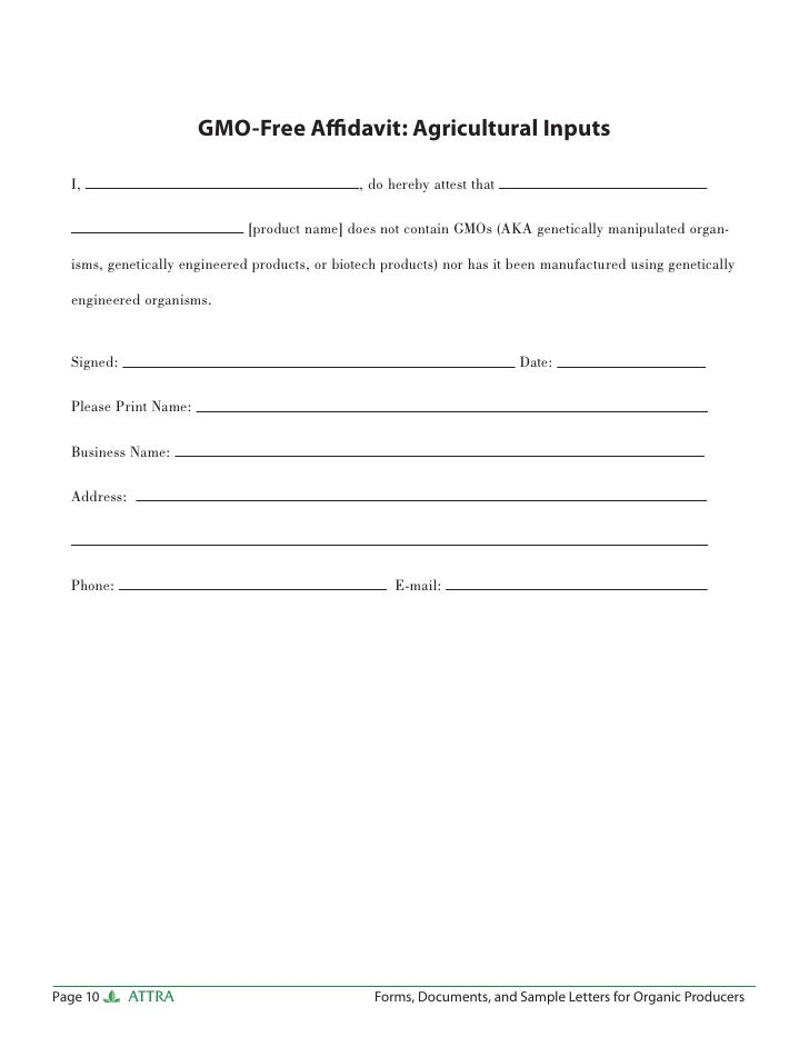 Forms Documents And Sample Letters For Organic Producers