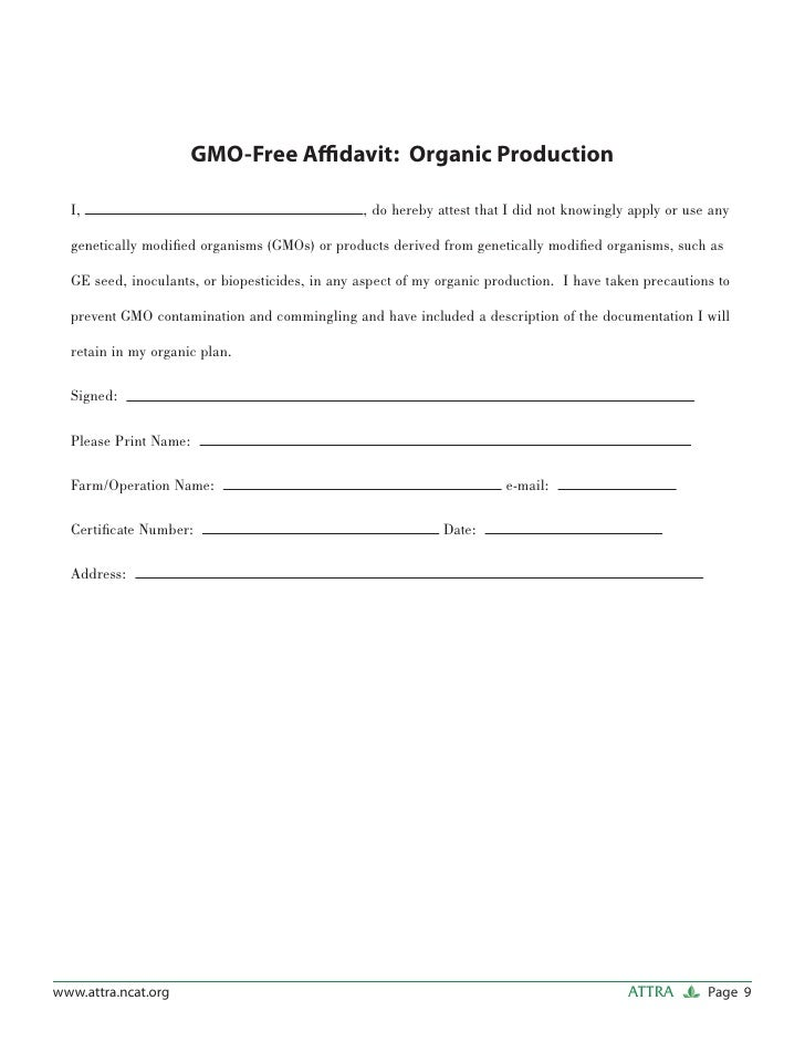 Forms Documents and Sample Letters for Organic Producers – Free Affidavit