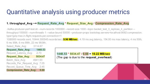 Quantitative analysis using producer metrics 1. throughput_Avg ~= Request_Rate_Avg * Request_Size_Avg / Compression_Rate_A...
